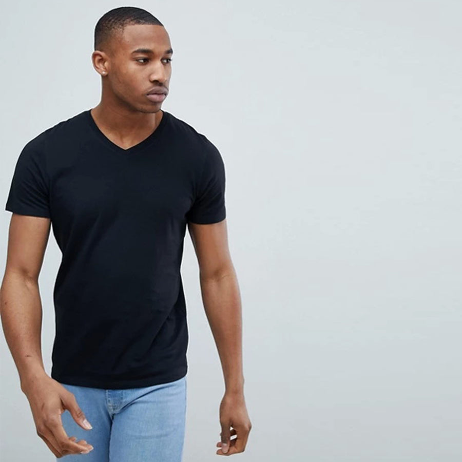 Funkys v neck poly flex black tee Shirt