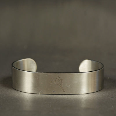 Men Stainless steel Zodiac design cuff bangle