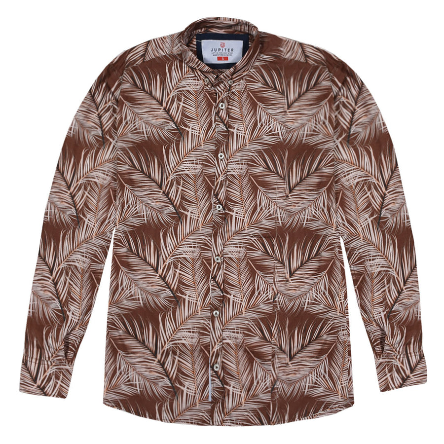 Men's Cotton Linen Leaf Print Shirt