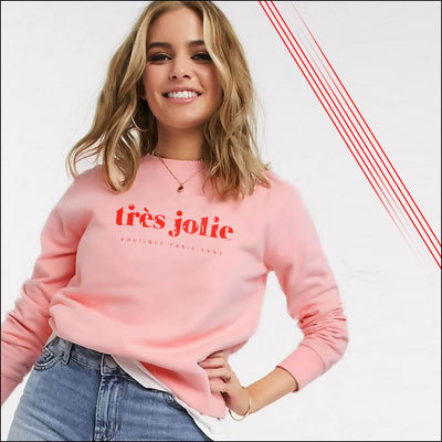 WOMEN MOCK NECK FRONT EMBELLISHMENT PEACH SWEATSHIRT