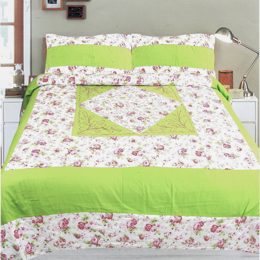 Funky's Lime Floral Center Patched Bed Sheet