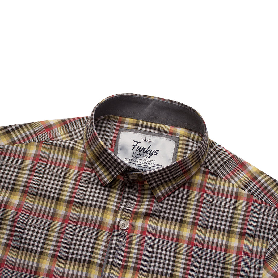 Funkys Multi Color Mircro Checkered Casual Shirt B-Quality