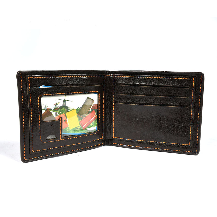 Men Printed Logo Dark Brown Wallet