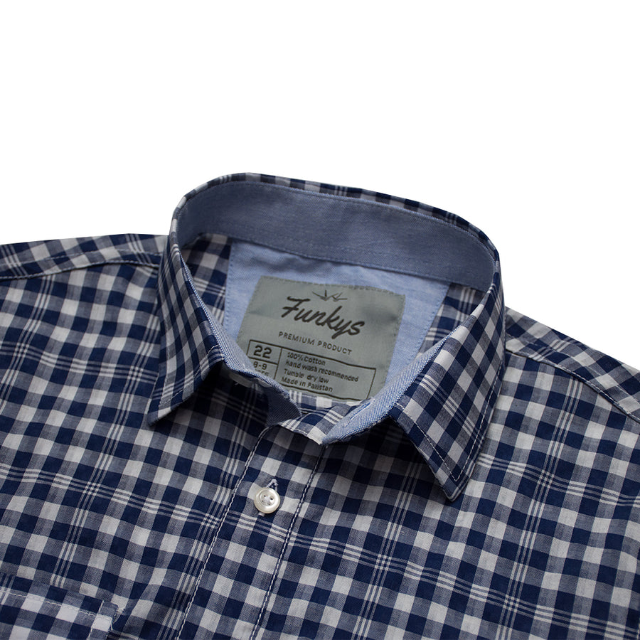 Funkys Boy's Micro Checkered Casual Shirt B-Quality
