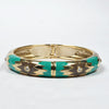 Women Contrast Color Fret pattern Clutch Bangle