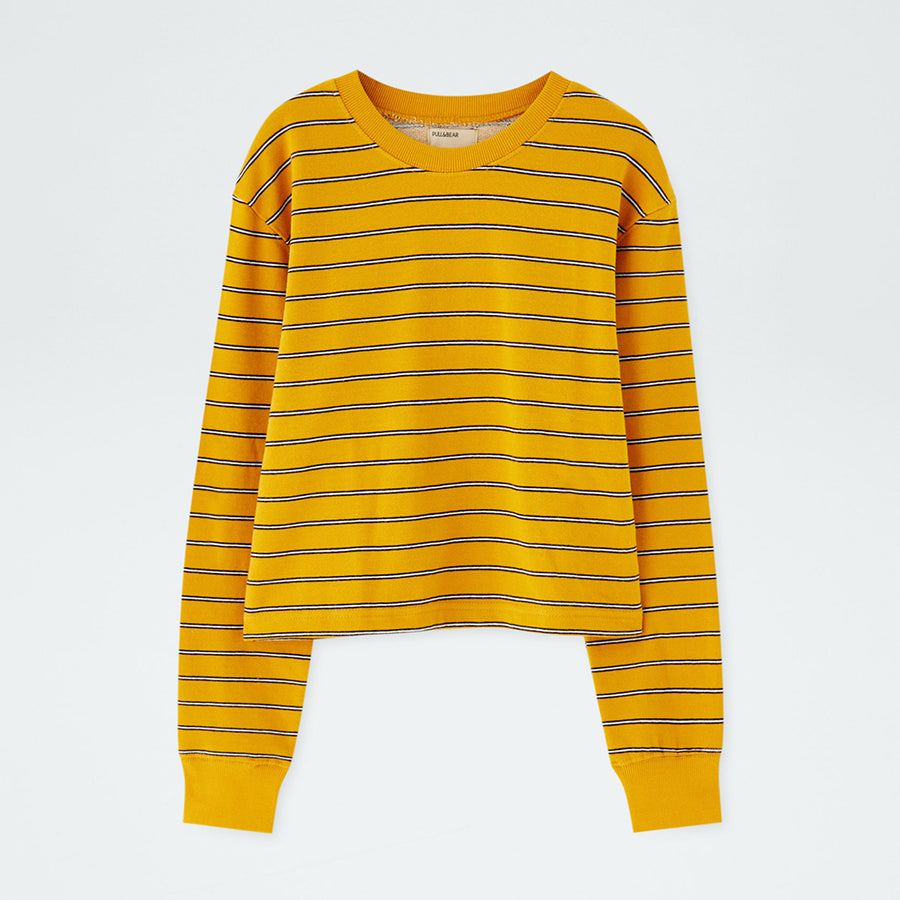 Pull & Bear Basic striped cropped sweatshirt