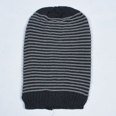 Round Stripes Inside Fur Beanie