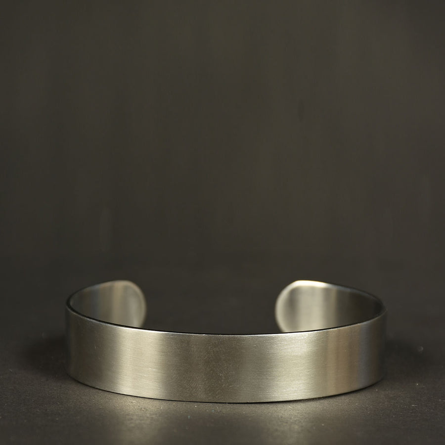 Men Stainless steel punk metal matte retro plain cuff bangle