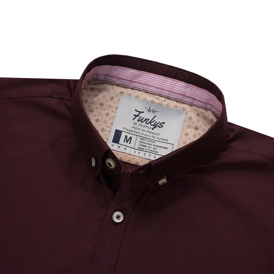 B-Quality Funky's Dark Maroon Casual Shirt - Deeds.pk