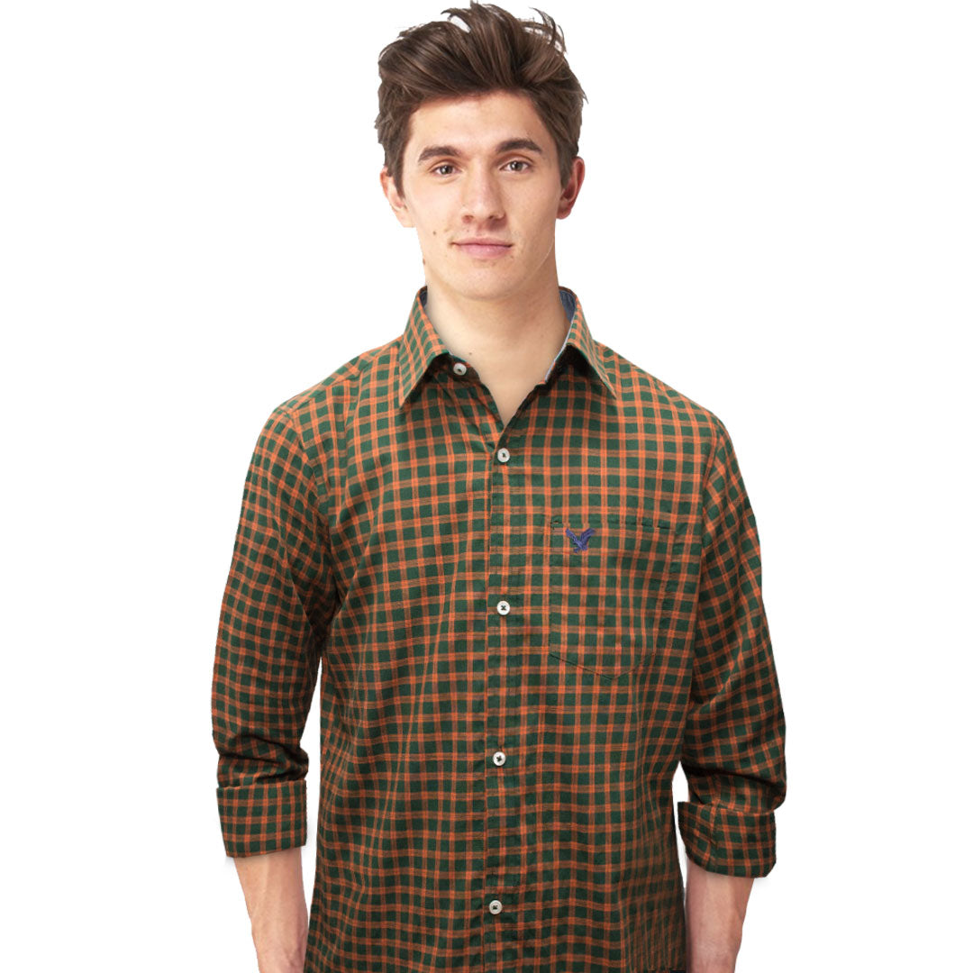 American Eagle Orange Checkered Casual Shirt - Deeds.pk