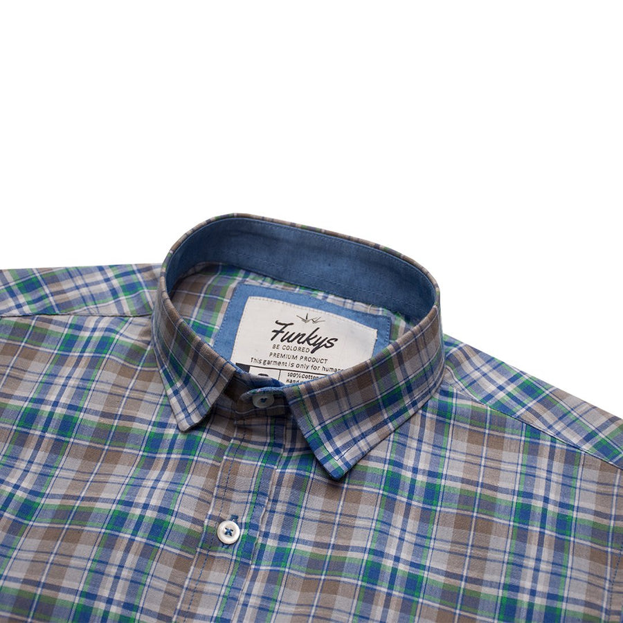 Funkys Green & Blue Checkered B-Quality Casual Shirt