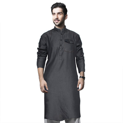 Funkys Charcoal Single Needle Tailored Denim Kurta - Deeds.pk