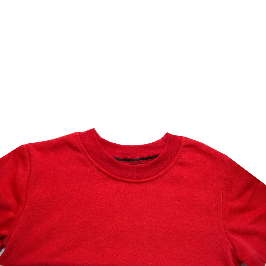 Boy's Contrast Panels Crew Neck Red Sweatshirts ( 3 Years To 12 Years )