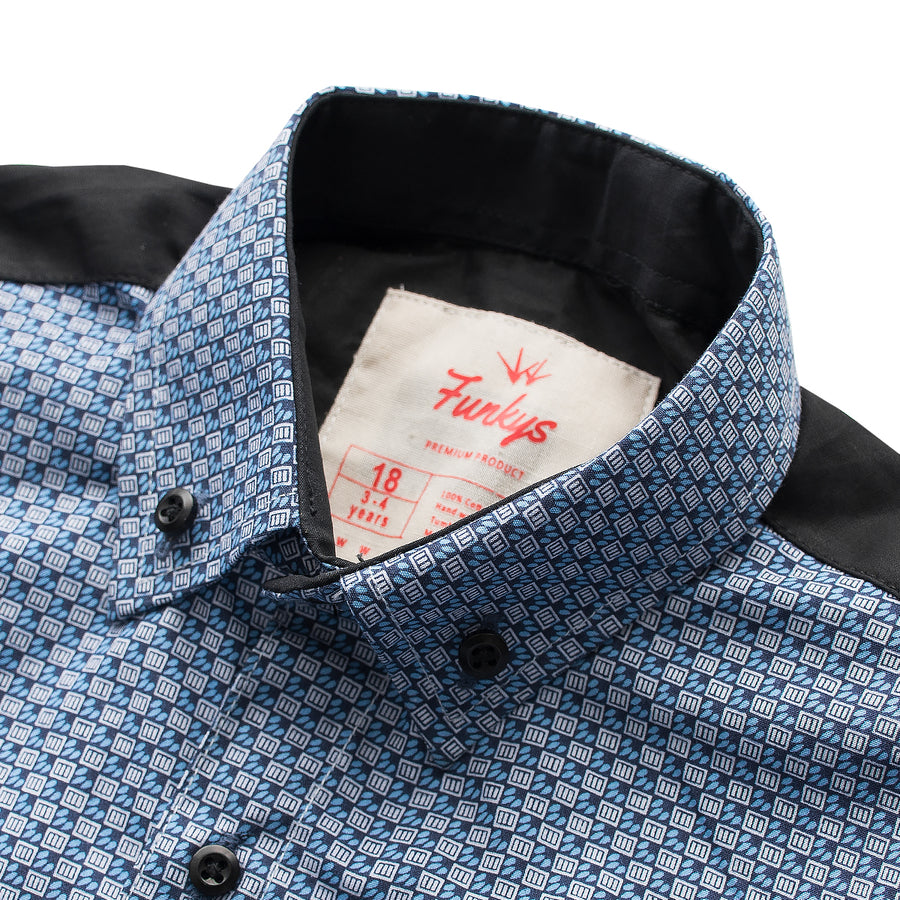 Funkys Boy's Blue Casual Shirt - Deeds.pk