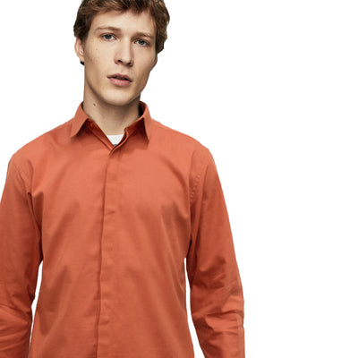 Datch Orange Long Sleeves Casual Shirt - Deeds.pk