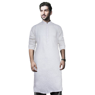 Funkys Floral Print White Tailored Kurta - Deeds.pk