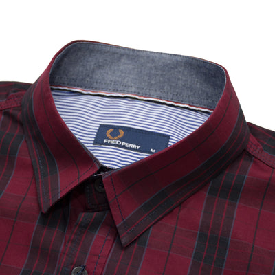 Fred Perry Red and Black Checkered Casual Shirt - Deeds.pk