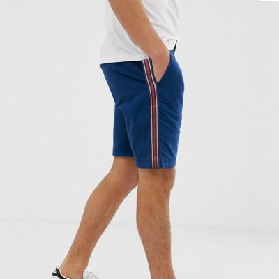 AL Smart Fit Cotton Side Stripes Blue Shorts - Deeds.pk