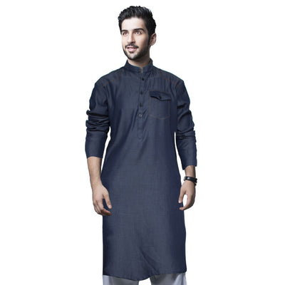 Funkys Mid Blue Single Needle Tailored Denim Kurta - Deeds.pk