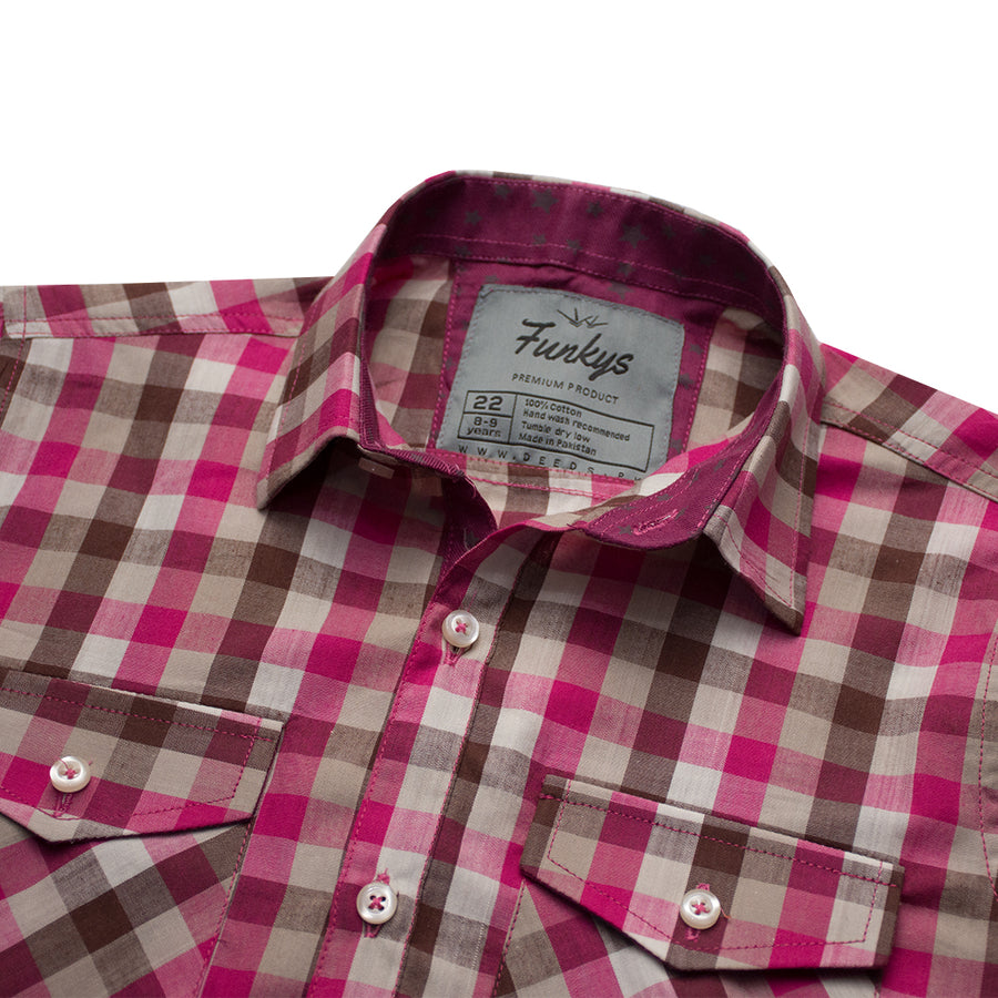 Funkys Boy's Micro Checkered Casual Shirt ( 3 YEARS TO 14 YEARS )