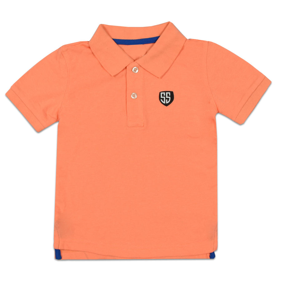 BOYS ORANGE PIQUE PRIME POLO SHIRT (1 YEARS TO 6 YEARS)