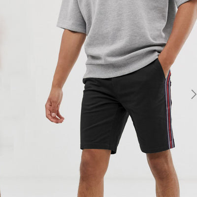 AL Smart Fit Cotton Side Stripes Black Shorts - Deeds.pk