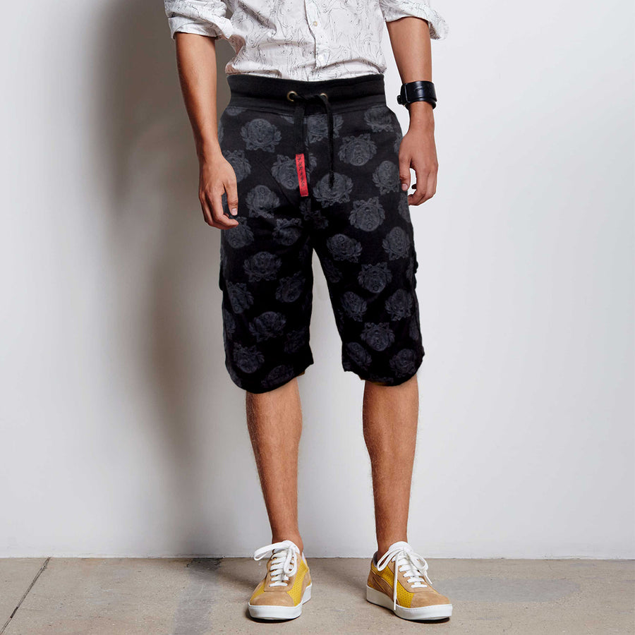 Funkys Black Royal Printed Shorts
