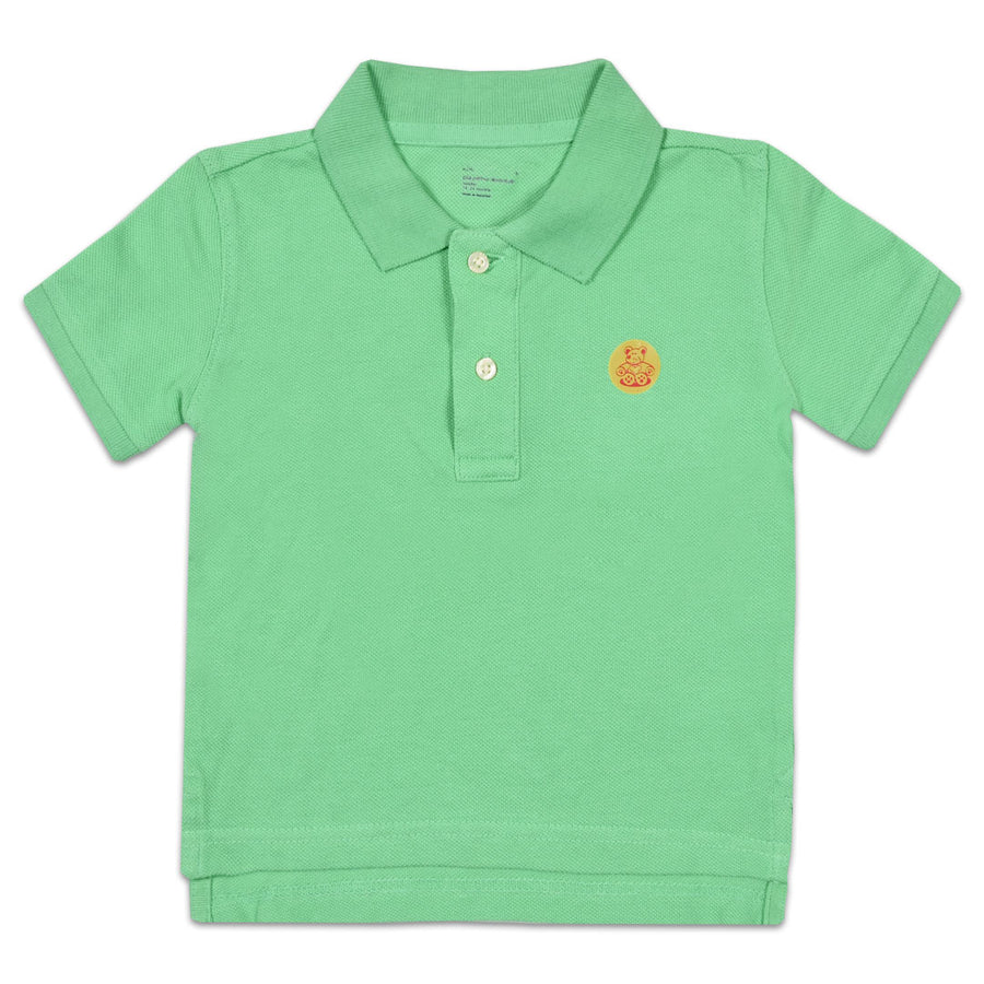 BOYS GREEN BEAR PATCH PIQUE PREMIUM POLO SHIRT (1 YEARS TO 6 YEARS)
