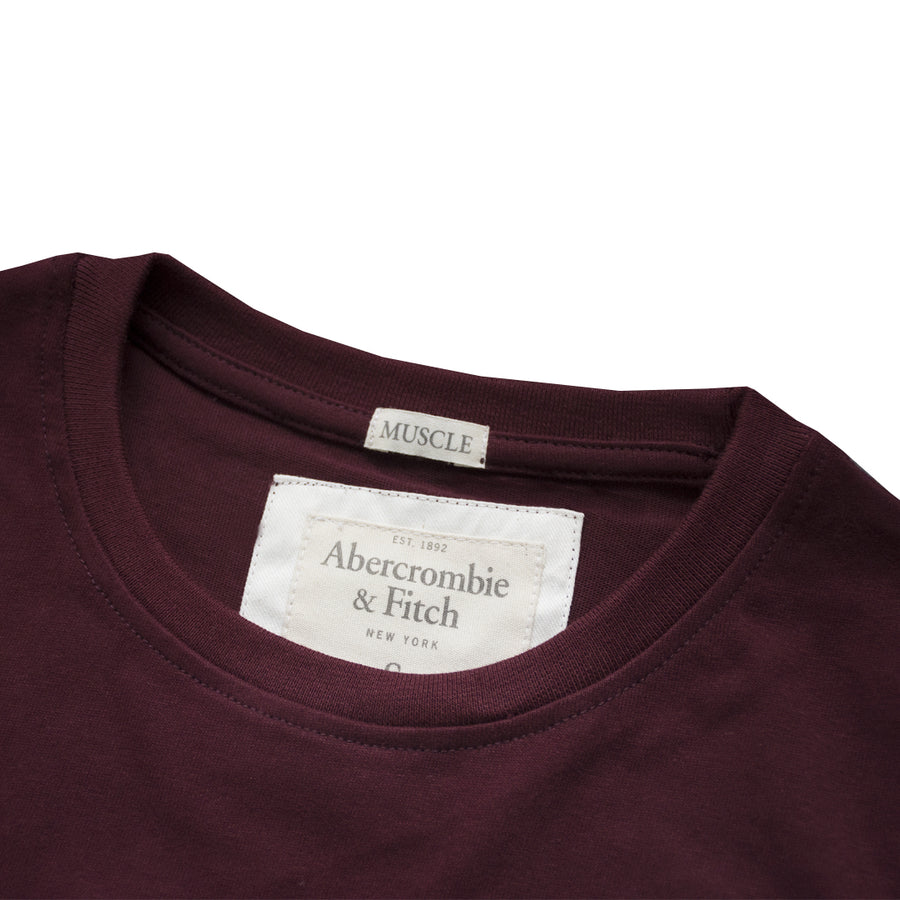 Abercrombie & Fitch Stag Dark Maroon Crew Neck T-Shirt (With Minor Faults) - Deeds.pk