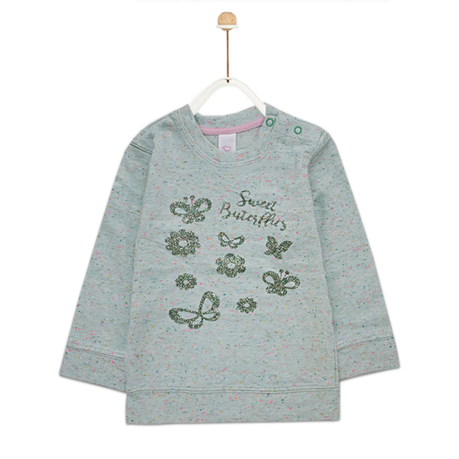 Baby Club Sweet Butterfly Printed Sweat Shirt ( 2 MONTHS TO 18 MONTHS ) - Deeds.pk