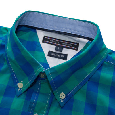 Tommy Hilfiger Button Down Sea Green Checkered Casual shirt - Deeds.pk