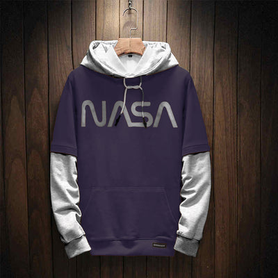 Nasa Contrast Dark Purple Printed Logo Hoodie