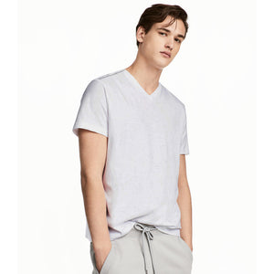 Funkys Light Grey Plain V-Neck T-Shirt