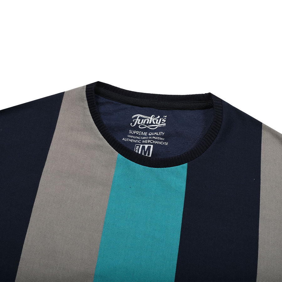 Funky's Roman Stripes Finest Contrast Color Tee (WITH mINOR FAULT)