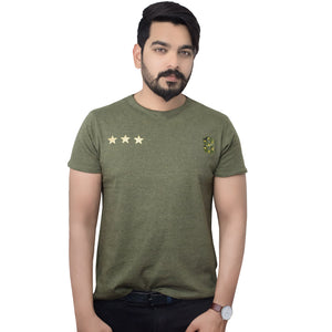 Funky's Gold Stars Army Green T-Shirt