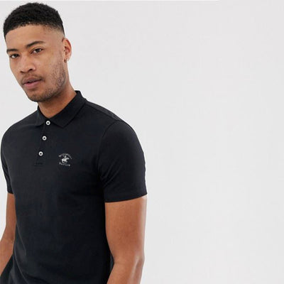 BH Classic Black Pique Polo Shirt - Deeds.pk