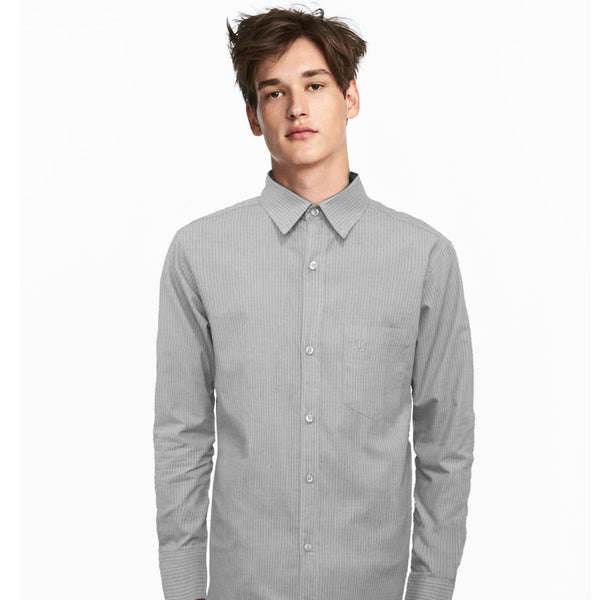 Datch Grey With White Stripes Casual Shirt - Deeds.pk