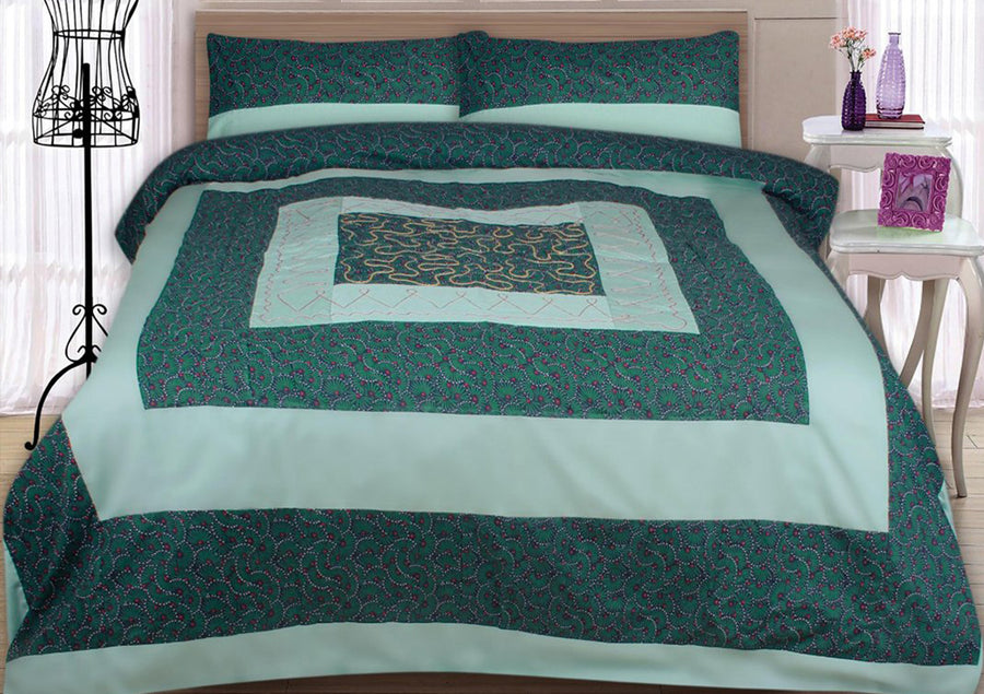 Funkys Printed Patch Work Center Embroidered Bed Sheet Set