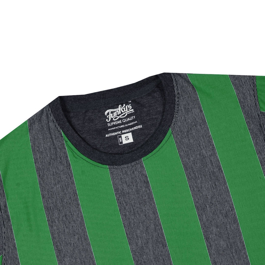Funky's Dyed yarn designer stripe vogue Green Tee