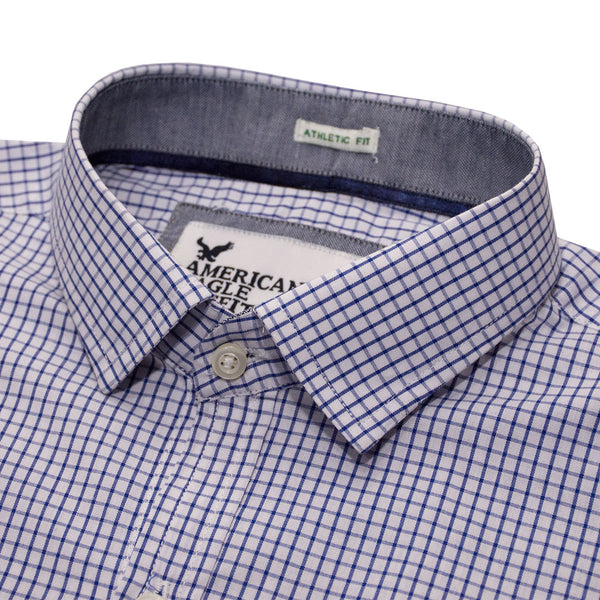 American Eagle White Micro Square Checkered Casual Shirt - Deeds.pk
