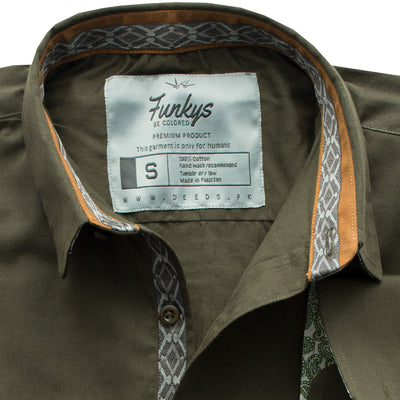 Funkys Army Green Casual Shirt - Deeds.pk