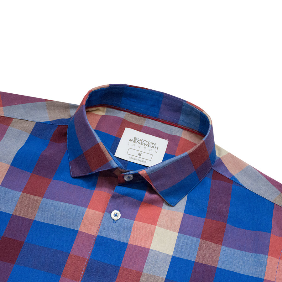 BRTN Multi Color Checkered Semi Formal Shirt - Deeds.pk