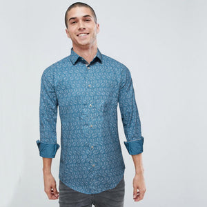 Funkys Azure Pattern Casual Shirt