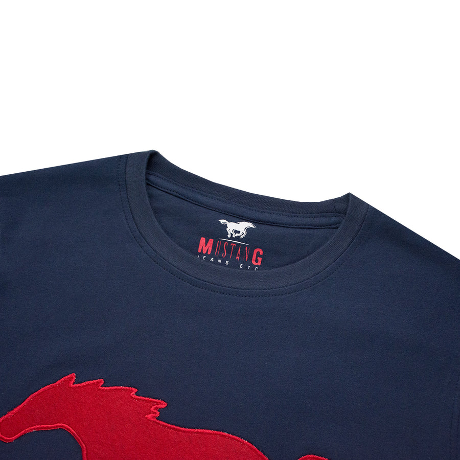 Applique Logo Blue T-Shirt - Deeds.pk