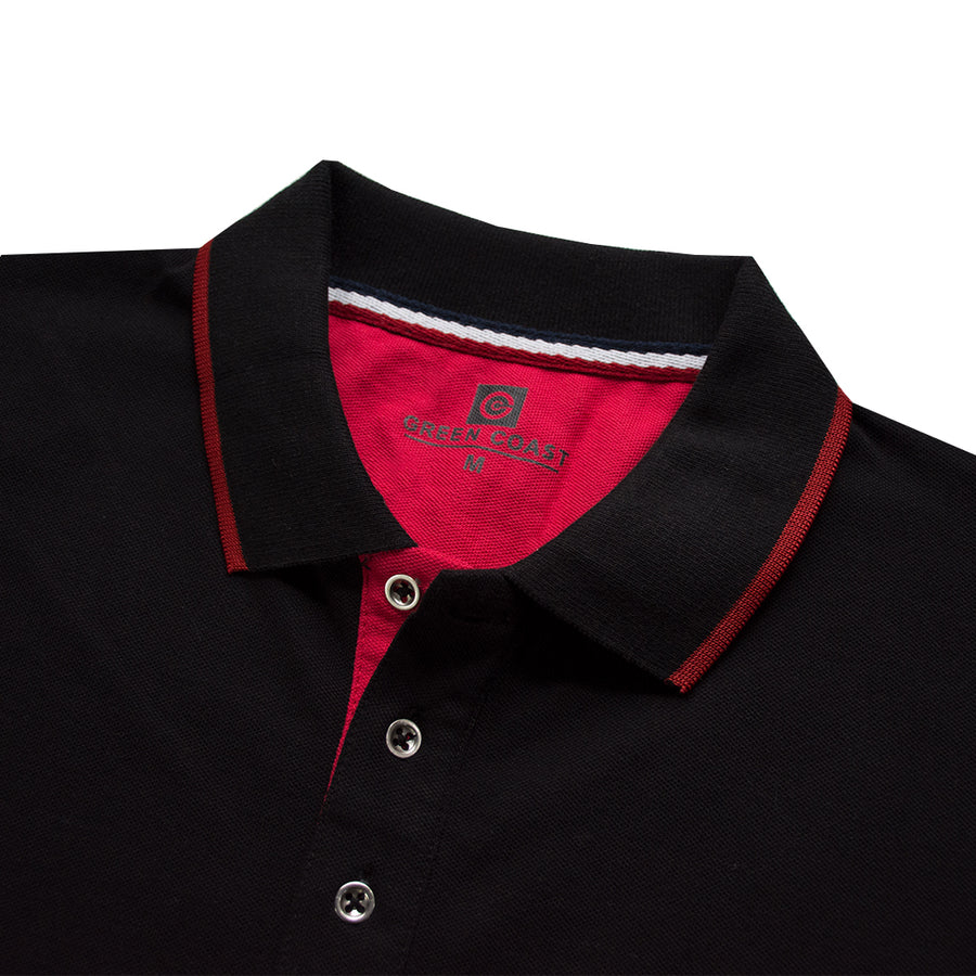 Green Coast Tipped Collar Jet Black Polo Shirt