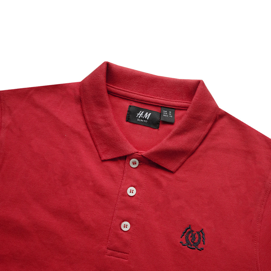Classic Collar Red Polo Shirt - Deeds.pk