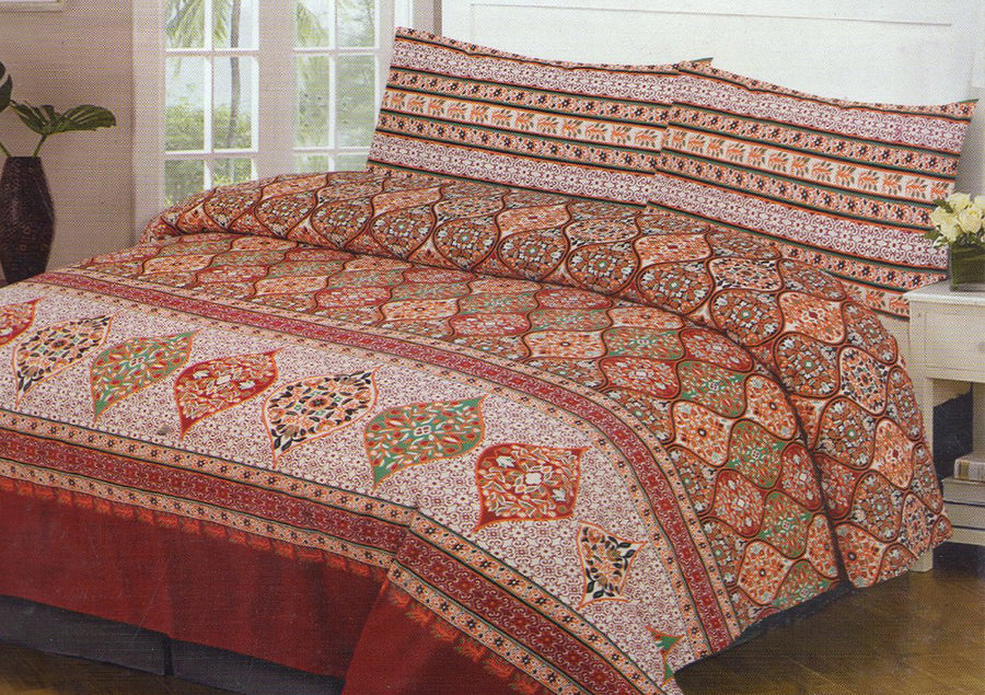 Cotton Concept Red Flower Print Double Bed Sheet Set - Deeds.pk
