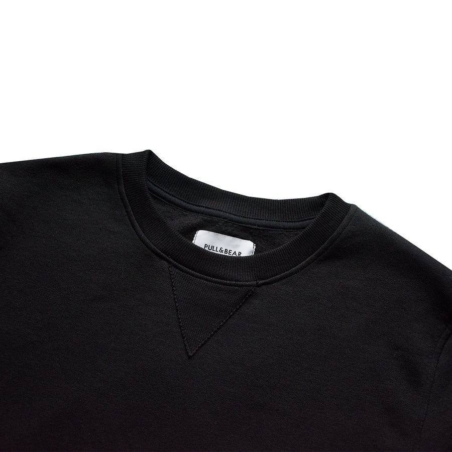 Pull&Bear Black Crew Neck Sweat Shirt