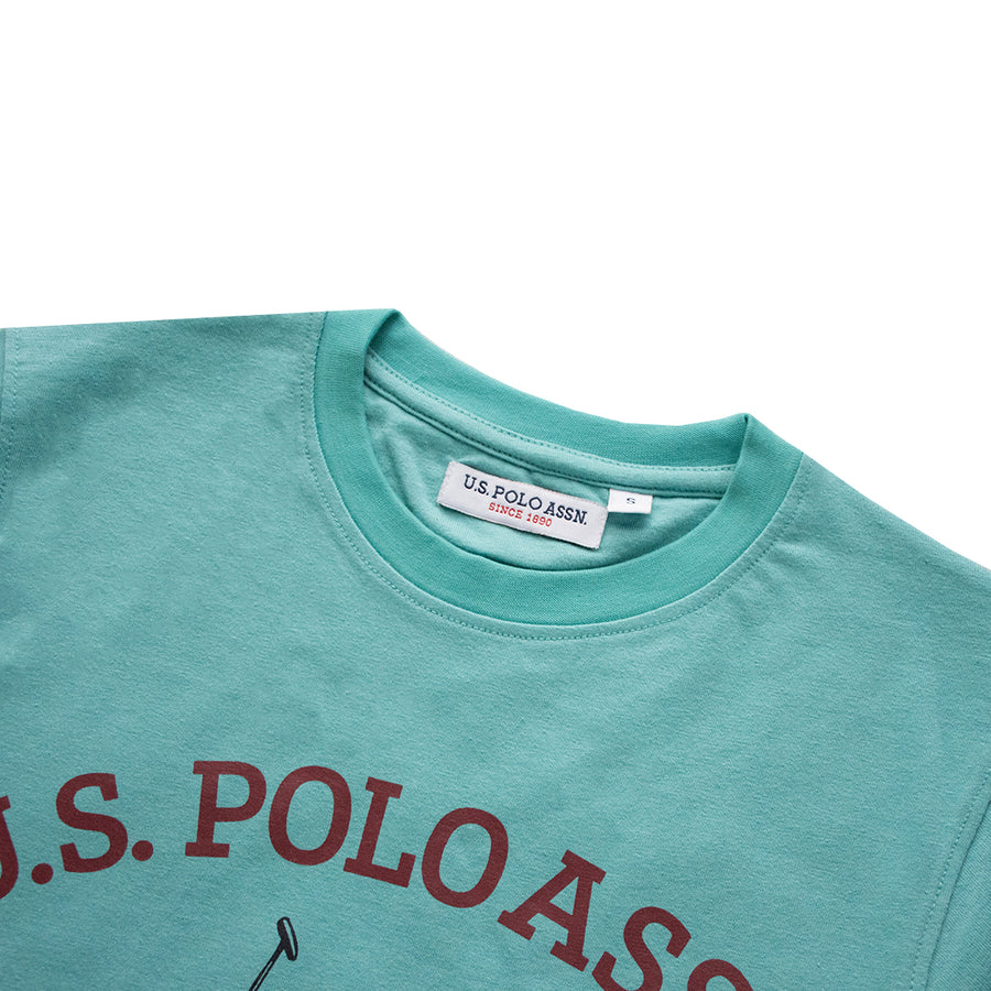 U.S. POLO ASSN PRINTED MINT GREEN T-SHIRT (WITH MINOR FAULTS)