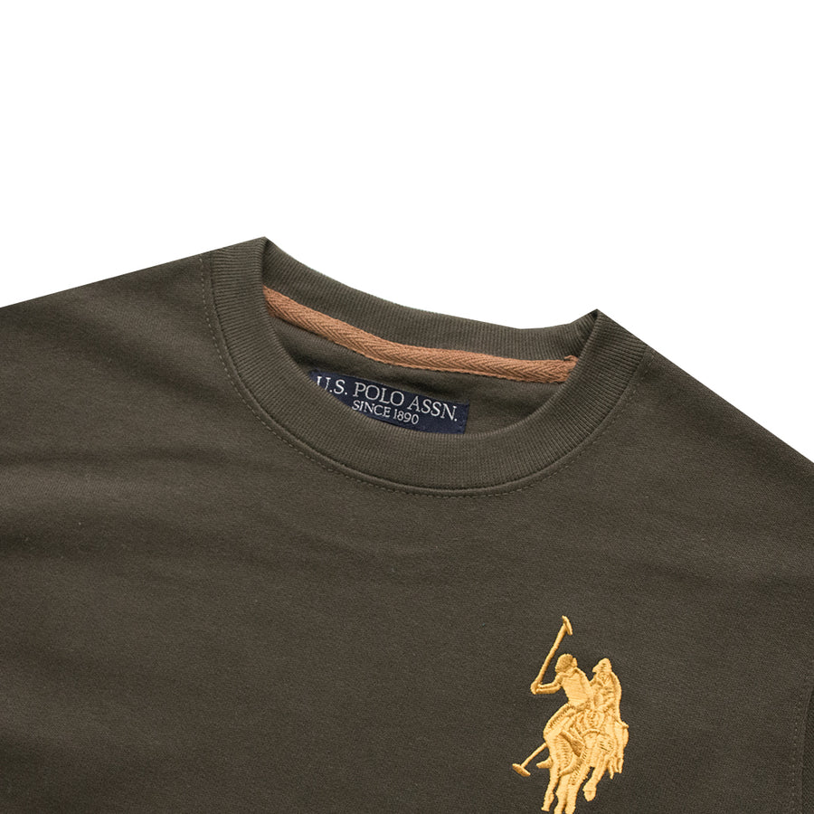 Embroidered logo Dark Olive Sweat Shirt